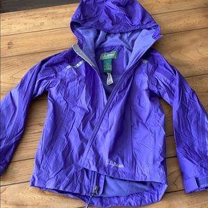 LL Bean Fleece Lined Rain Coat girls M (5-6)
